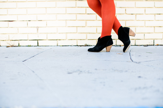 Wear This // rust colored tights and black booties