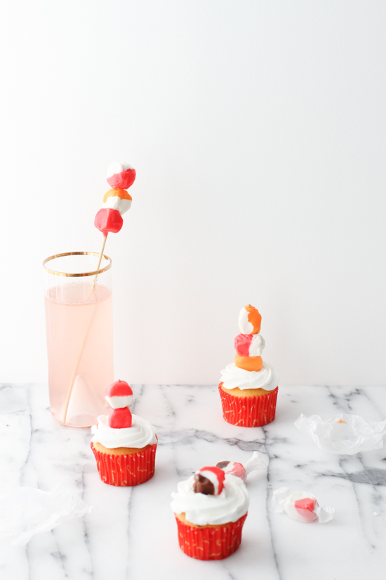salt water taffy drink stirrers + cupcake toppers