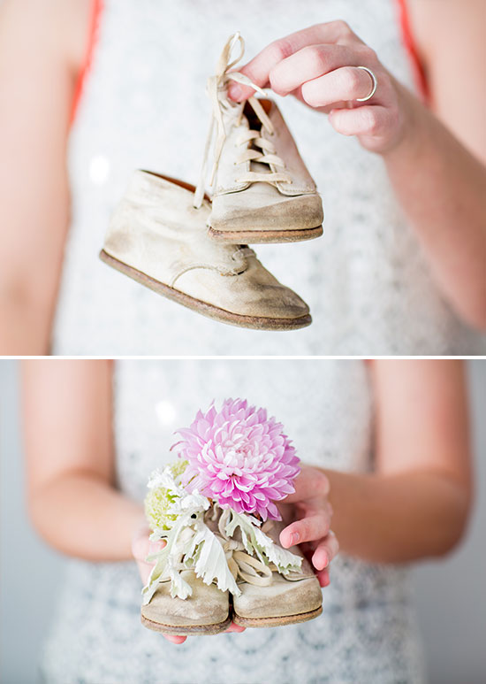 Vintage Baby Shoes Turned into Baby Shower Vases