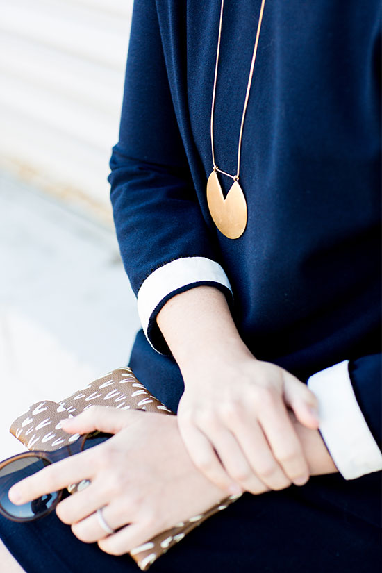 navy dress + moorea seal necklace