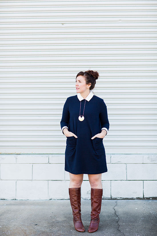 Wear This // Navy Dress + Boots
