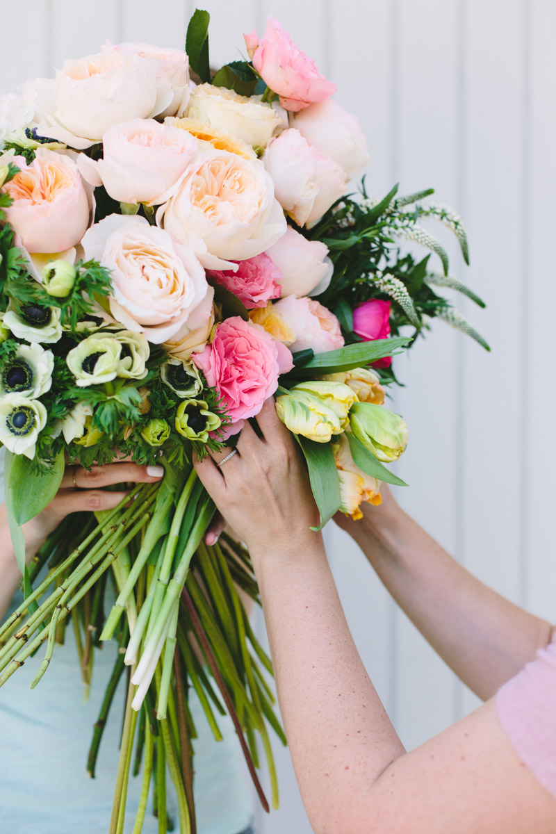Make this giant diy flower blocked bouquet paper and stitch big diy wedding bouquet putting together a giant bouquet with garden roses izmirmasajfo Choice Image