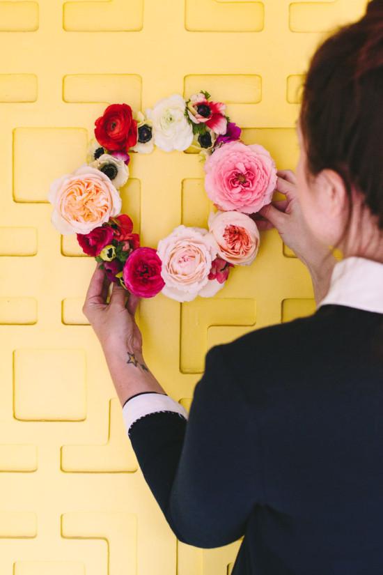 Door Wreath DIY with Fresh Flowers