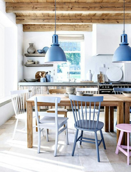 pastel chairs in the a rustic modern dining room