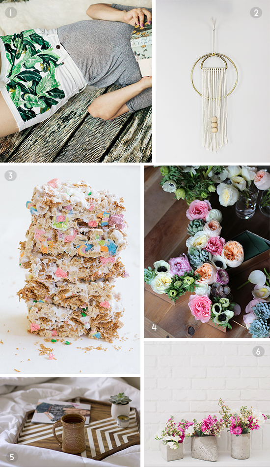 6 DIYs to Try // painted shorts, cereal treats, and more
