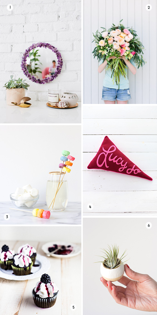 6 DIYs to Try This Weekend // rock mirror, giant bouquet...