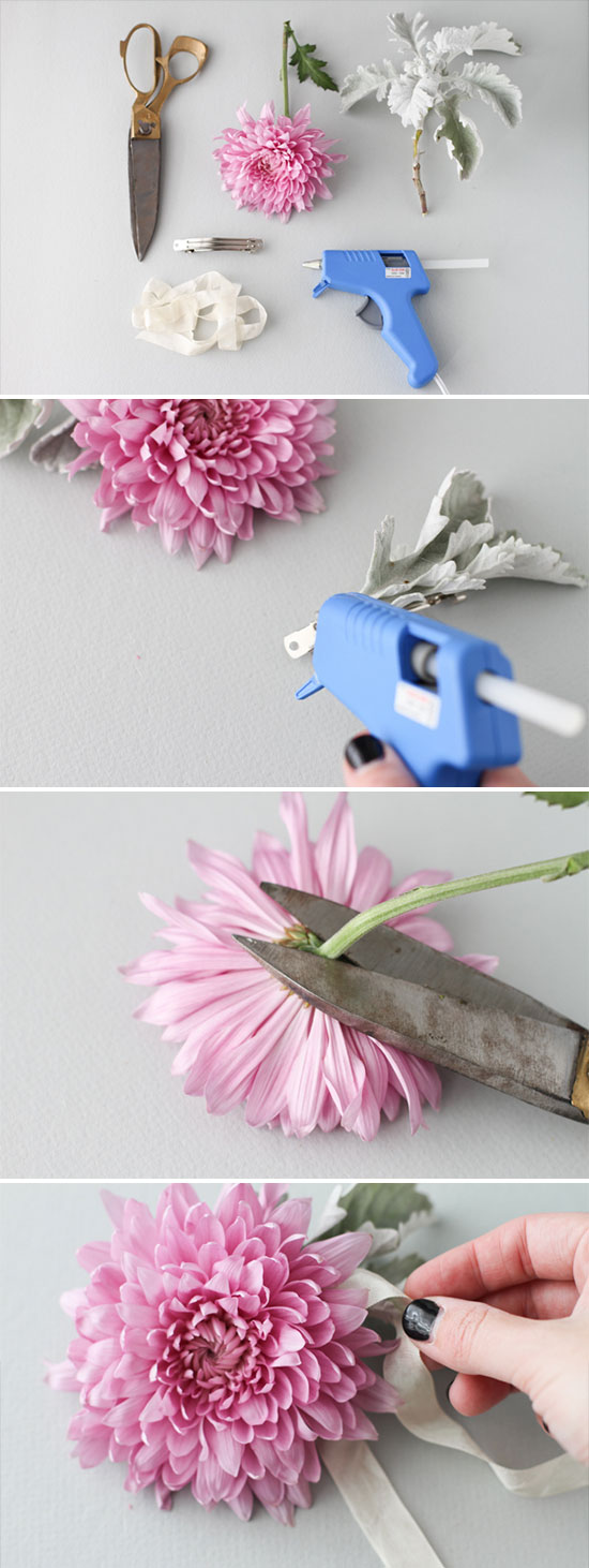 how to make a fresh flower hair clip