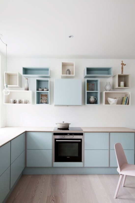 pastel cabinets in the kitchen