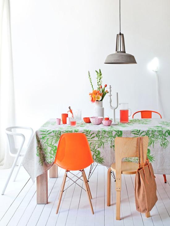 Orange Eames Chair + Green Tablecloth