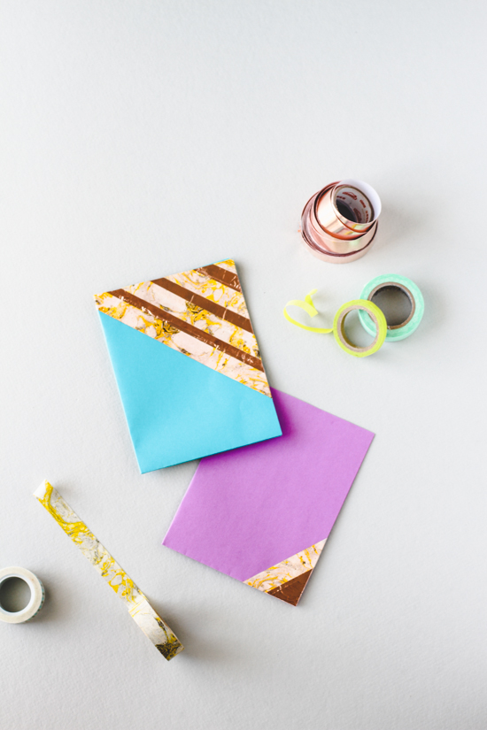 Easy DIY // Washi Tape Color Blocked Cards