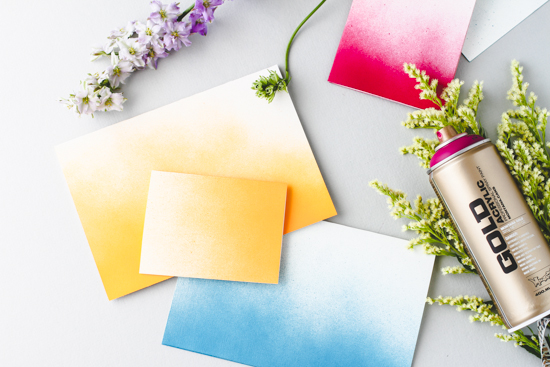 ombre spray paint greeting card DIY