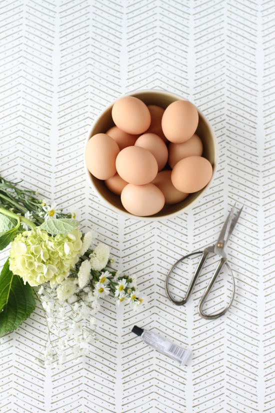 Supplies for Flower Easter Eggs