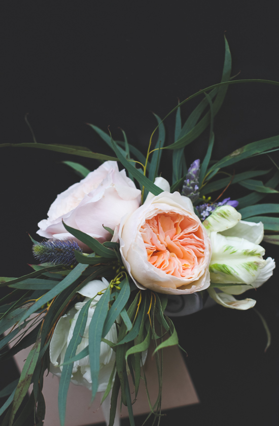 Bouquet with Juliet Garden Roses + Willow Eucalyptus