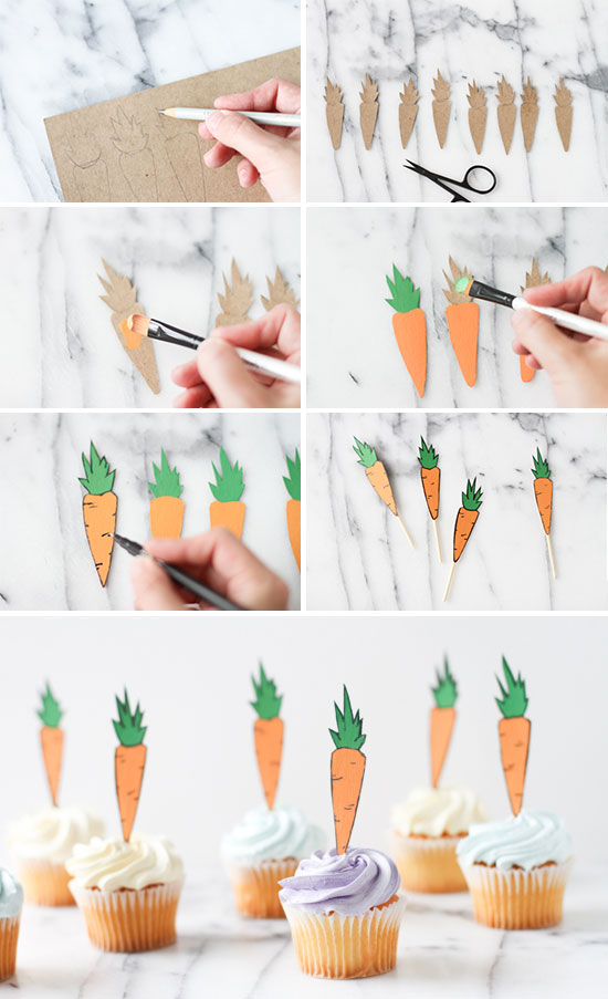 How To Make a Carrot Cupcake Topper for Easter