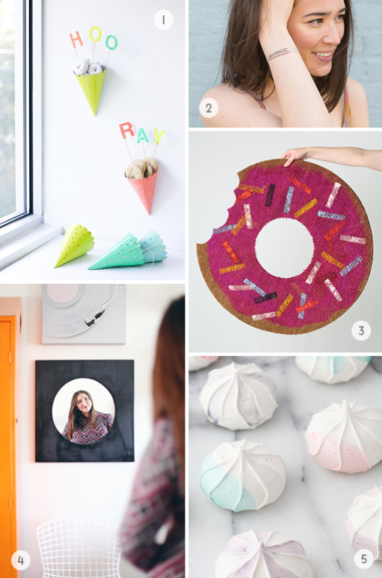 DIYs to Try // donut doormat, watercolor meringues, and more