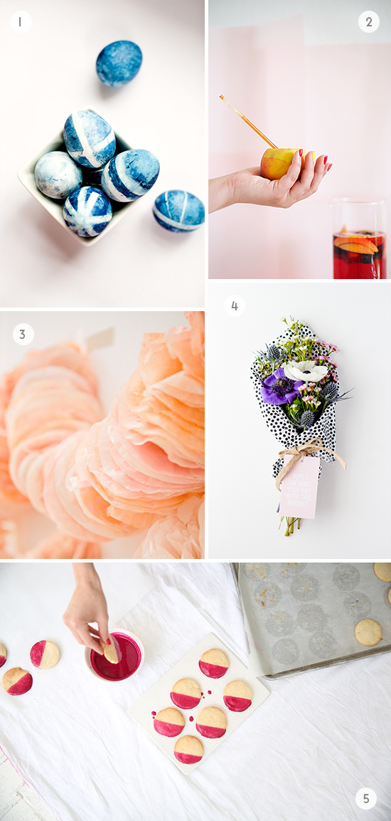 DIys to Try // coffee filter garland, fabric covered bouquet, and more