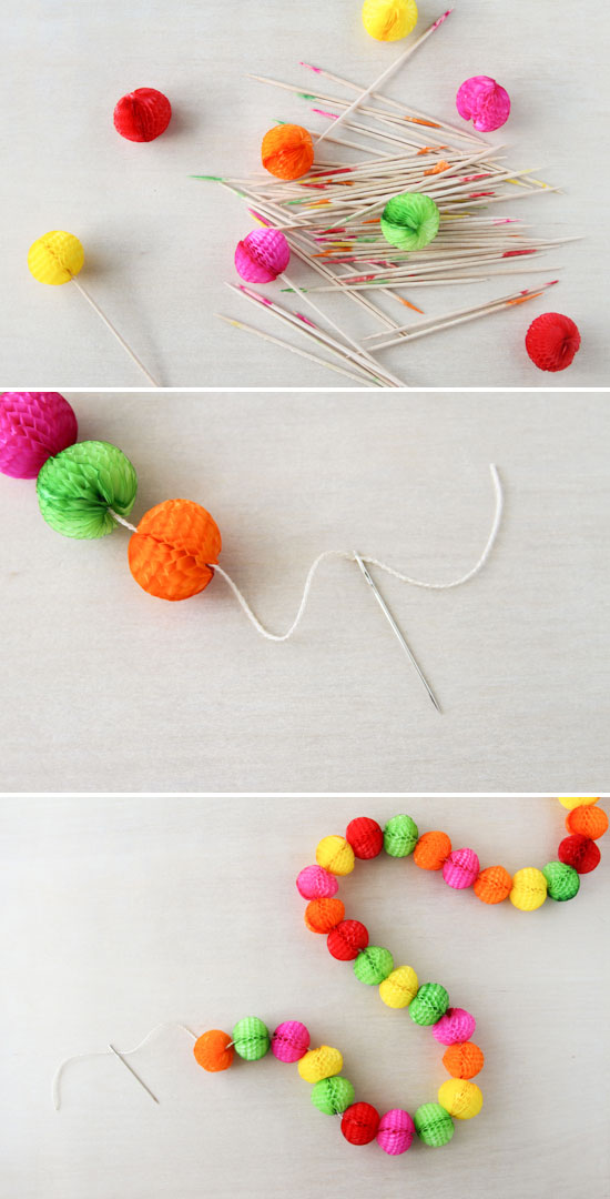 how to make a honeycomb garland