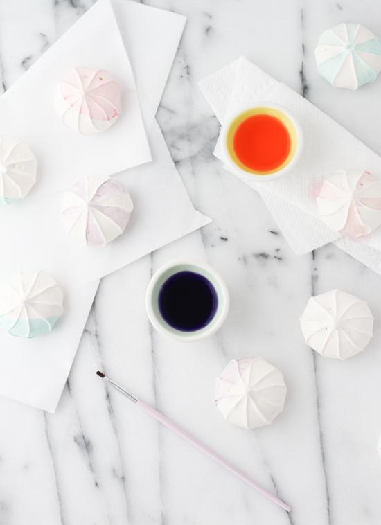 Easy Watercolor Meringues with Gel Food Coloring