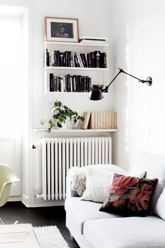 Shelving over a radiator to save space