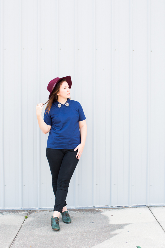 Navy and Black Outfit with Burgundy Hat