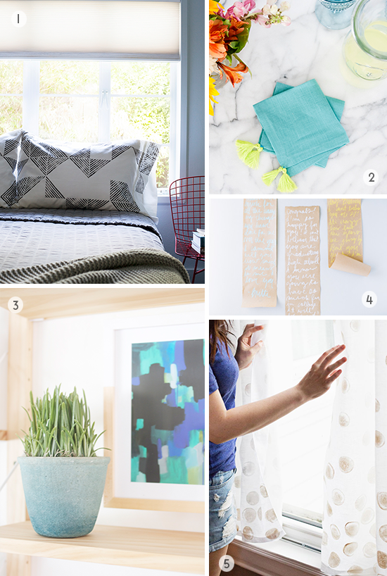 DIYs to Try // Polka Dot Curtains, Stamped Pillows...