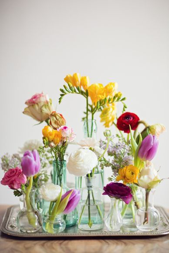Colorful flowers in glass vases