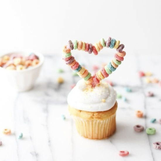 Fruit Loop Cupcake Toppers Shaped like Hearts