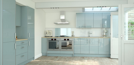 Pale blue kitchen cabinets from Wren Living