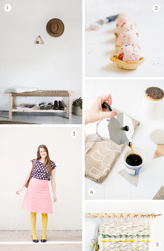 5 DIYs to Try This Weekend // sugar cookie bowls, woven bench, and more