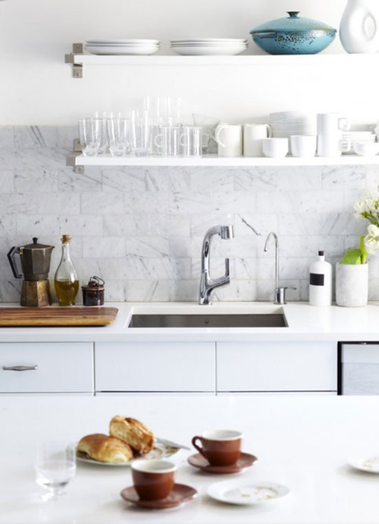 White Marble Backsplash in the Kitchen