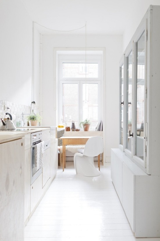 White Kitchen with Whitewashed Cabinets