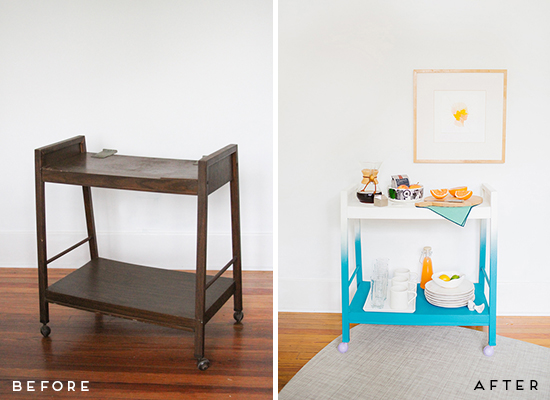 Before and After Bar Cart Makeover