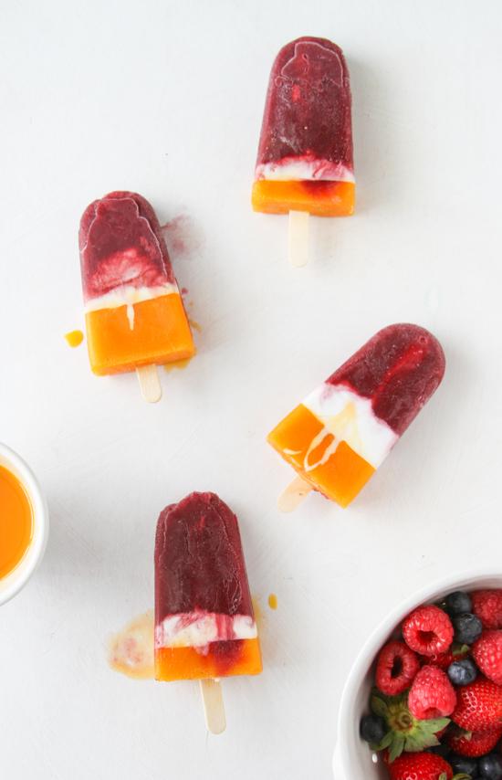 Easy Berry + Mango Cream Popsicle Recipe