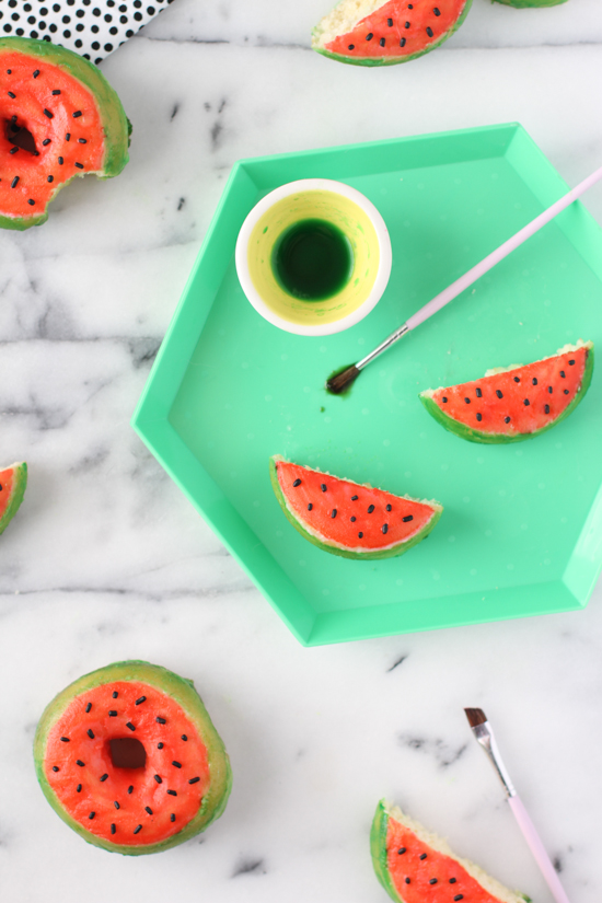 DIY Hand Painted Watermelon Donuts