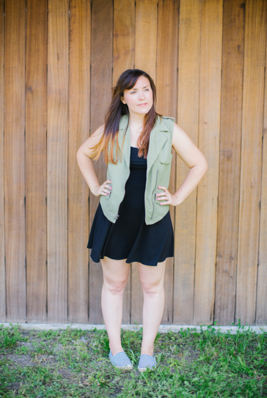 Safari Vest + Black Dress