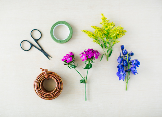 Supplies for a flower bracelet DIY
