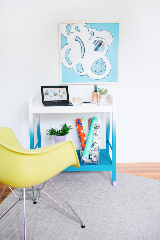 Ombre Rolling Office Cart DIY