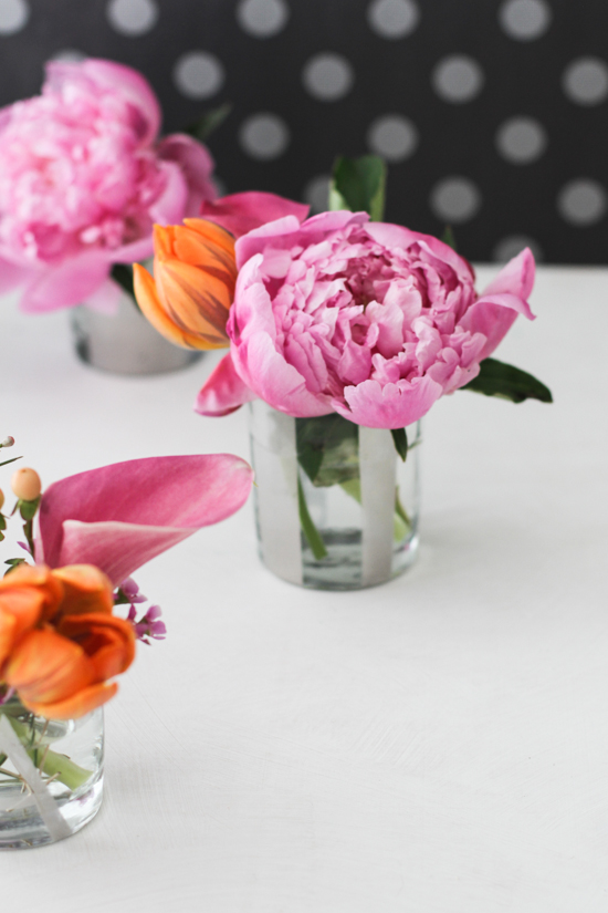 Peonies + DIY Mirrored Glass Mini Vases