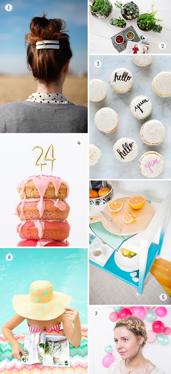 7 DIYs to Try // typography macarons, polka dot floppy hat, and more