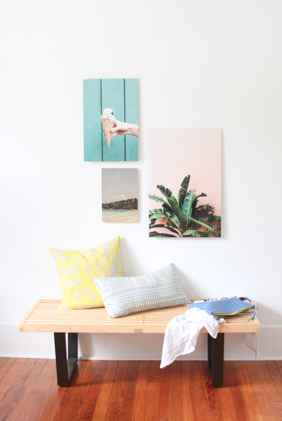 Small sitting nook with colorful artwork