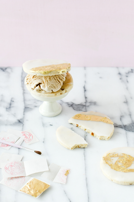 DIY Gilded Cookies + Ice Cream Sandwiches