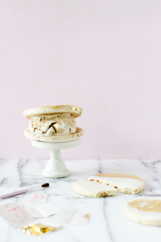 Gilded Cookies + Ice Cream Sandwiches. Yum!