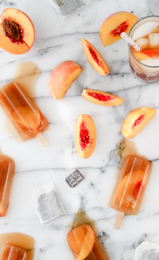 2 Ingredient Popsicles: Sweet Tea + Peaches