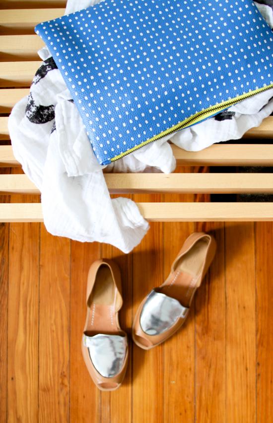 Summer Staples: Dotted Clutch + Rachel Comey Sandals