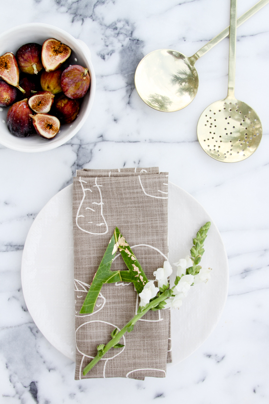 DIY // Typographic Leaf Place Cards