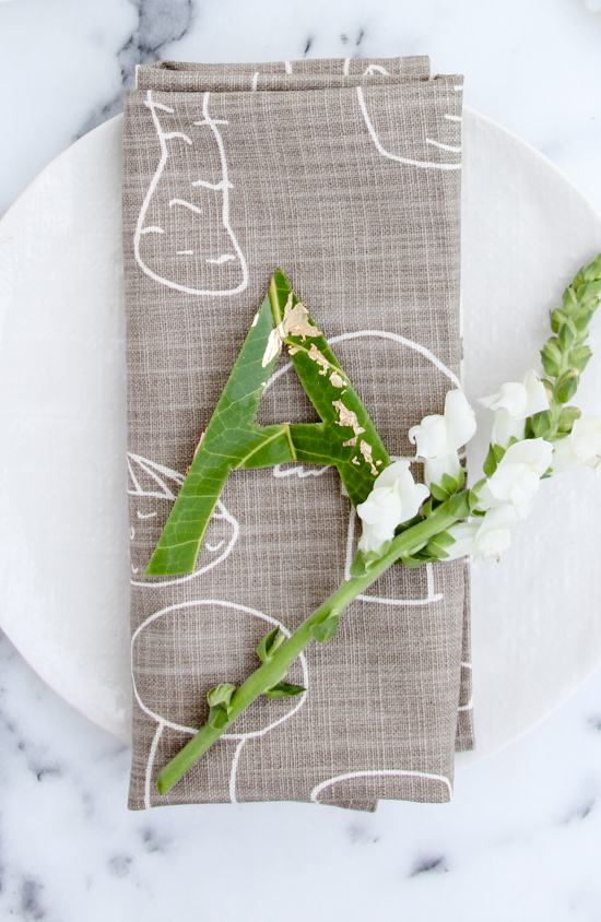 DIY Monogrammed Place Cards Made from Leaves