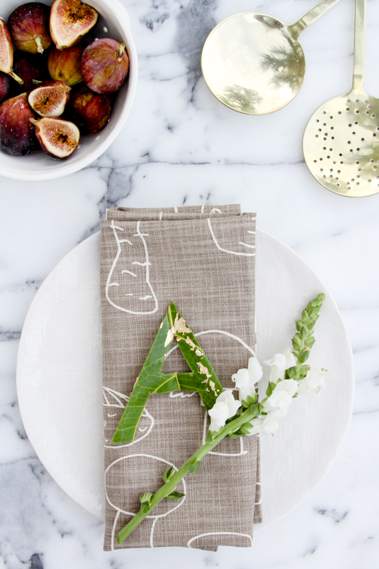 DIY Typographic Place Cards Made of Leaves