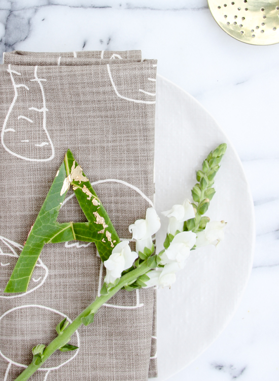 DIY Typographic Leaf Place Cards