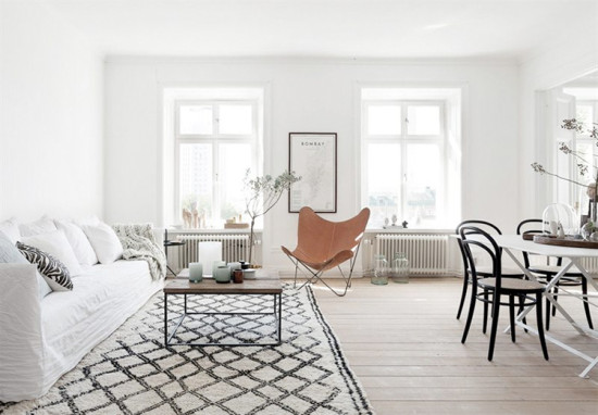 Stockholm home with a great rug