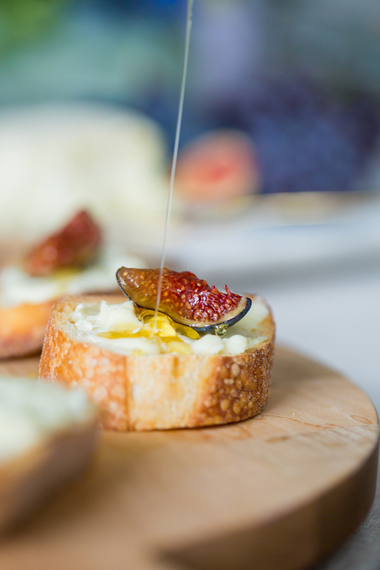 Fig and Goat Cheese Crostinis with Drizzled Honey